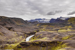 View on a river and glacier Vatnajokull in Iceland Royalty Free Stock Photos