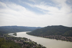 View on the river from high castle to the mountains, landscape. Sky Stock Images