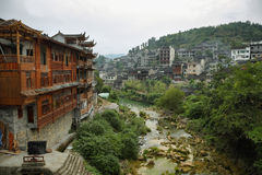 View of river and houses in Furong (Hibiscus) ancient village Stock Photo