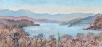 View of the river Hudson from the bridge. View of Hudson from the bridge   in the morning Royalty Free Stock Photos