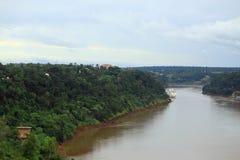 View of river Iguazu from international bridge Royalty Free Stock Photography