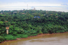 View of river Iguazu from international bridge Royalty Free Stock Photography
