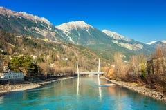 Innsbruck cityscape, Austria. View of river Inn, Innsbruck. Austria stock images
