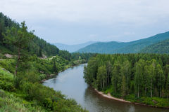 View of the river Katun. Trekking in the Altai Mountains Royalty Free Stock Images