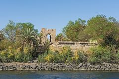 View from river of kiosk in an ancient egyptian temple royalty free stock image