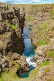View of river at Kolugljufur Canyon stock photography