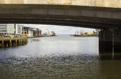 A view of the river Lagan and Belfast lough through the railway bridge at Donegall Quay Royalty Free Stock Photography