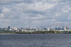 View from the river on a large industrial city. Of Zaporizhia in Ukraine royalty free stock image