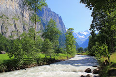 View at river in Lauterbrunnen valley with Breithorn at the background Royalty Free Stock Images