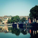 View on the River Lee - vintage effect. Early morning in Ireland. Stock Photography
