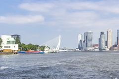 View from the river Maas on the Erasmus bridge with the surrounding buildings.  stock photography