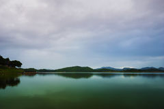 View of river and mountain in Kanchanaburi, Thailand Royalty Free Stock Image