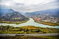 A view on a river in Mtskheta, Georgia. Stock Photography