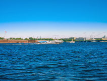 A view of the river Neva and the Peter and Paul fortress in Saint-Petersburg, Russia. View of the Neva River, a floating hydrofoil ship, Peter and Paul Fortress Stock Images