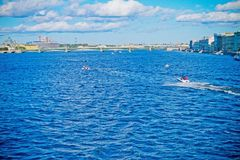 A view of the river Neva and the Peter and Paul fortress. St.Petersburg river Neva in day a view of the river Neva and the Peter and Paul fortress Stock Image