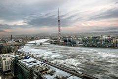 A view of the river Neva and St. Petersburg TV tower with a hei Stock Photo