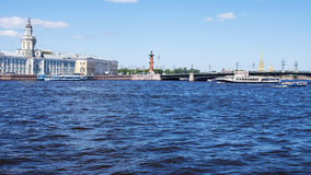 View of the river Neva and Vasilevsky Island, St. Petersburg, Russia Royalty Free Stock Photos