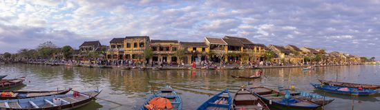 View of river at night in Hoi An, Vietnam royalty free stock photo