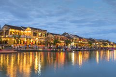 View of river at night in Hoi An, Vietnam stock photos