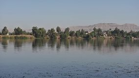 View of river Nile in Egypt showing Luxor west bank stock video footage