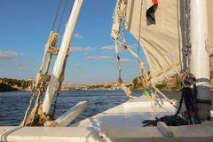 View of the river Nile from a sailboat Royalty Free Stock Photos