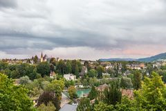 View of the river and old city in Bern, Switzerland stock photo