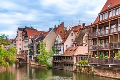 View from the river at the old Nuremberg. View from the the river at the old Nuremberg royalty free stock image
