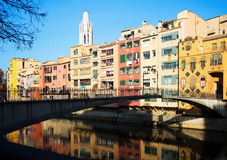 View of river Onyar at Girona in  day time. Catalonia Stock Image