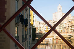 View of river Onyar at Girona in  day time. Catalonia, Spain Royalty Free Stock Photo