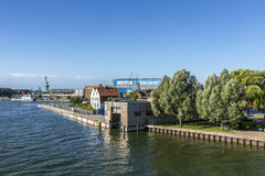 View at river Peene to dockyard area in Wolgast. Stock Images