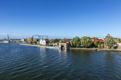 View at river Peene to dockyard area in Wolgast. Stock Photo