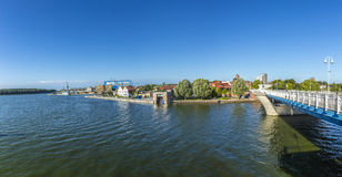 View at river Peene to dockyard area in Wolgast Stock Photo