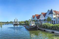 View at river Peene to dockyard area in Wolgast. Stock Photos