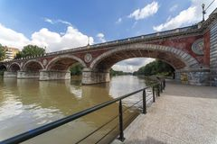 View of River Po in Turin, Italy stock photo