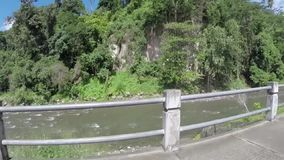 The view of the river and rainforest from car in dominica stock footage