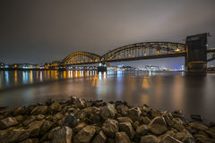 South Bridge in Cologne at night royalty free stock photography