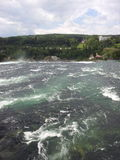 View of the River Rhine, Switzerland. A view of the River Rhine before it crashes over the Rhine Falls, Switzerland Stock Image