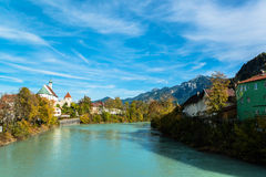 View on river in romantic Bavarian city Stock Photos