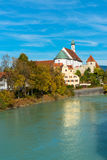 View on river in romantic Bavarian city Royalty Free Stock Image