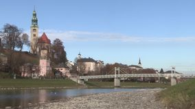 View from the river Salzburg to the Inner City of Salzburg, Austria, Europe. View from the river Salzburg to the Inner City of Salzburg,   Austria in Europe stock video footage