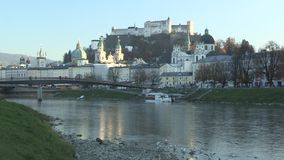 View from the river Salzburg to the Inner City of Salzburg, Austria, Europe. View from the river Salzburg to the Inner City of Salzburg,   Austria in Europe stock footage