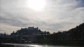 View from the river Salzburg to the Inner City of Salzburg, Timelapse, Austria, Europe. View from the river Salzburg to the Inner City of Salzburg,   Austria in stock video
