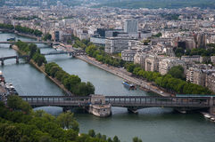 View of the River Seine, captured from  the Eiffel Tower, Paris Royalty Free Stock Photography