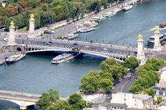 View of the river Seine and the Pont Alexandre III in Paris Royalty Free Stock Photos