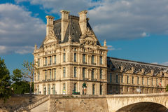 View from the River Seine to Paris, palace and embankment, Franc Stock Images