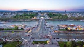 View of river Seine, Trocadero and La Defense from stock video