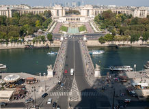 View of river Seine, Trocadero and La Defense from the Eiffel tower. Paris Royalty Free Stock Image