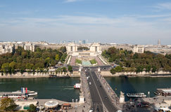 View of river Seine, Trocadero and La Defense from the Eiffel tower. Paris, Royalty Free Stock Image