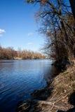 View of the river Seversky Donets. Spring landscape view of the river Seversky Donets beautiful blue sky near Svyatogorsk Lavra Stock Photography