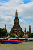 View from river side on Thai old down town and temple Stock Image
